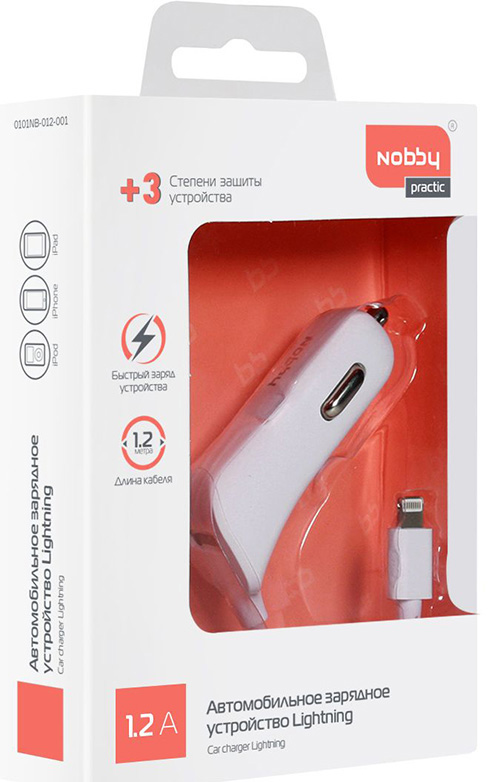 Зарядное устройство автомобильное Nobby Practic 012-001 8pin Lightning (белый) моноблок lenovo ideacentre 910 27ish f0c200abrk серебристый