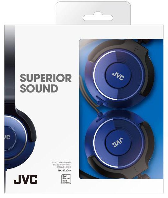 Наушники накладные JVC HA-S220-A-E (синий) jvc ha kd1 a