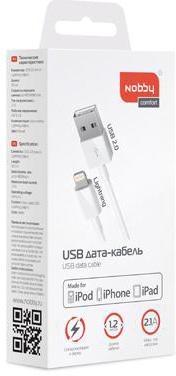 Кабель Nobby Comfort 001-001 USB-8pin Lightning 1.2м (белый)