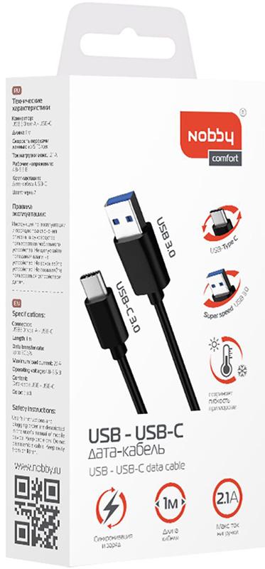 Кабель Nobby Comfort 014-001 USB 3.0–USB Type-C 1м (черный)