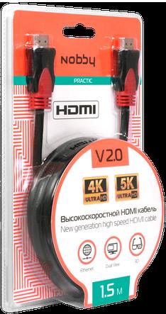 Кабель Nobby NBP-HC-15-01 HDMI-HDMI v2.0 1,5м (чёрный) аксессуары для20игровых приставок