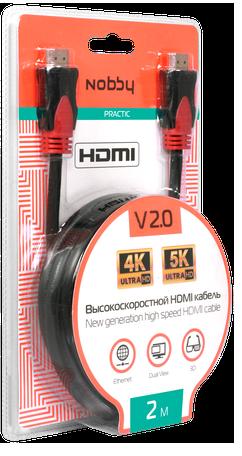 Кабель Nobby NBP-HC-20-01 HDMI-HDMI v2.0 2м (чёрный) аксессуары для20игровых приставок