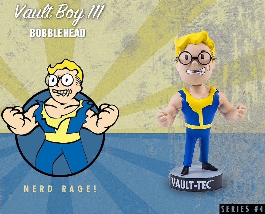 Коллекционная фигурка Fallout 4 Vault Boy 111 Bobbleheads: Nerd Rage! – Series Four (13 см) фигурка fallout 4 vault boy 111 bobbleheads series two explosives 13 см