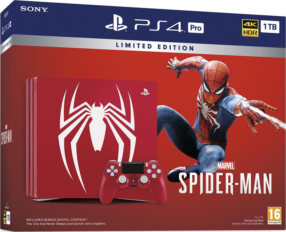 Игровая консоль PlayStation 4 Pro (1TB) (CUH-7108В) Человек-паук Limited Edition + игра Marvel Человек-паук игровая консоль playstation 4 1tb fifa 18 ps plus 14 дней cuh 2108b