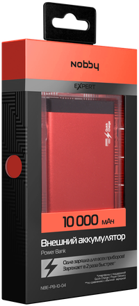 Зарядное устройство портативное Nobby Eхpert NBE-PB-10-04 (красный) аккумулятор nobby expert nbe pb 10 10 черный