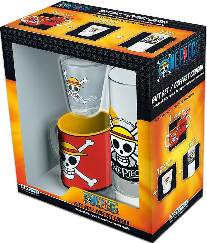 Набор One Piece Skull Luffy (кружка мини + стакан + рюмка)