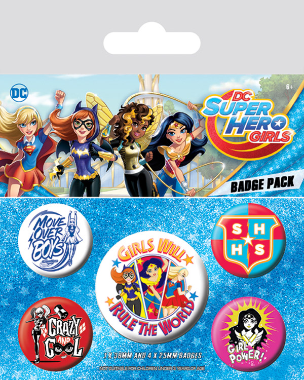 Набор значков DC Super Hero Girls: Girls Will Rule The World 5-Pack