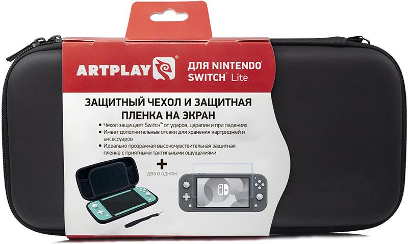 Чехол и защитная плёнка Artplays для Nintendo Switch Lite (черный) (NSL-B03)