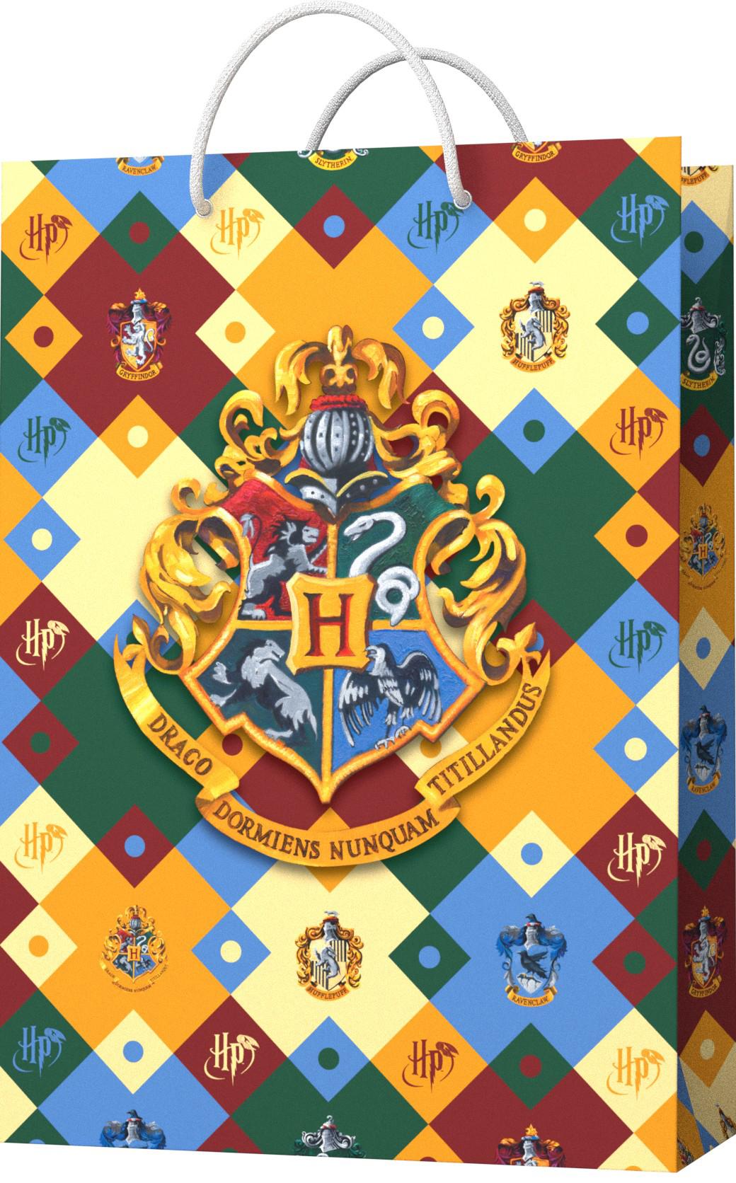 Пакет подарочный Harry Potter: Герб Хогвардс. Паттерн (малый) фото