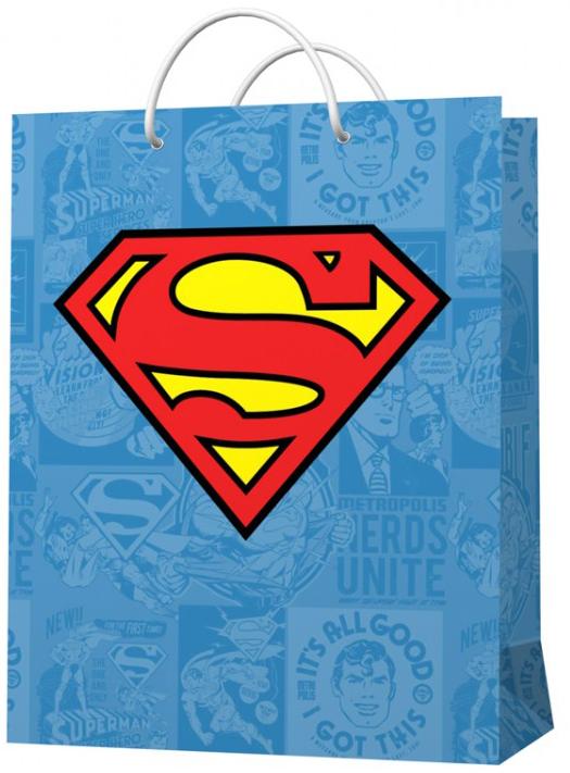 Пакет подарочный Superman Логотип (малый) (голубой)