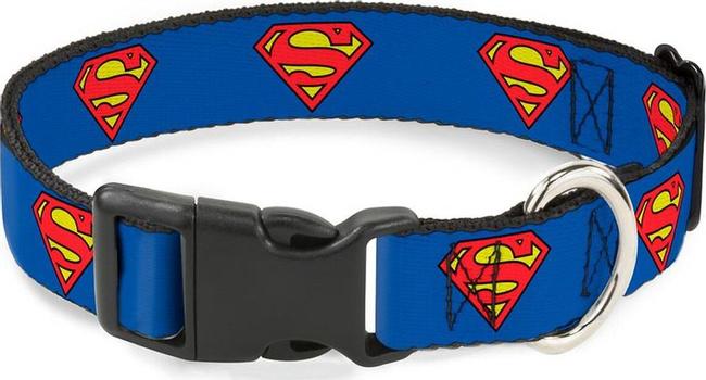 Ошейник Superman / Супермен Синий. С пластиковой застёжкой (23-38 см)