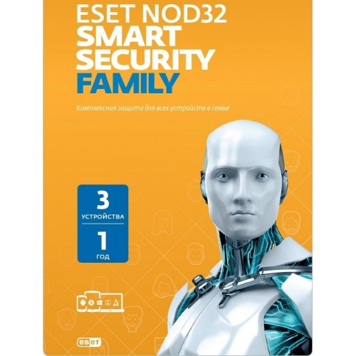 ESET NOD32 Smart Security Family (3 устройства, 1 год или продление на 20 месяцев)