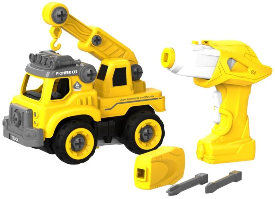 Набор пластмассовых деталей для сборки: Подъемный кран с пультом ДУ (желтый)