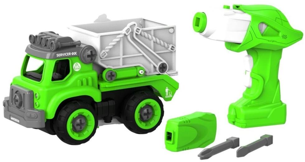 Набор пластмассовых деталей для сборки: Самосвал с пультом ДУ (зеленый)