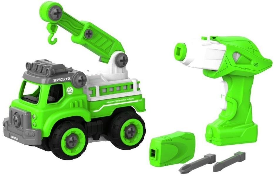 Набор пластмассовых деталей для сборки: Подъемный кран с пультом ДУ (зеленый)