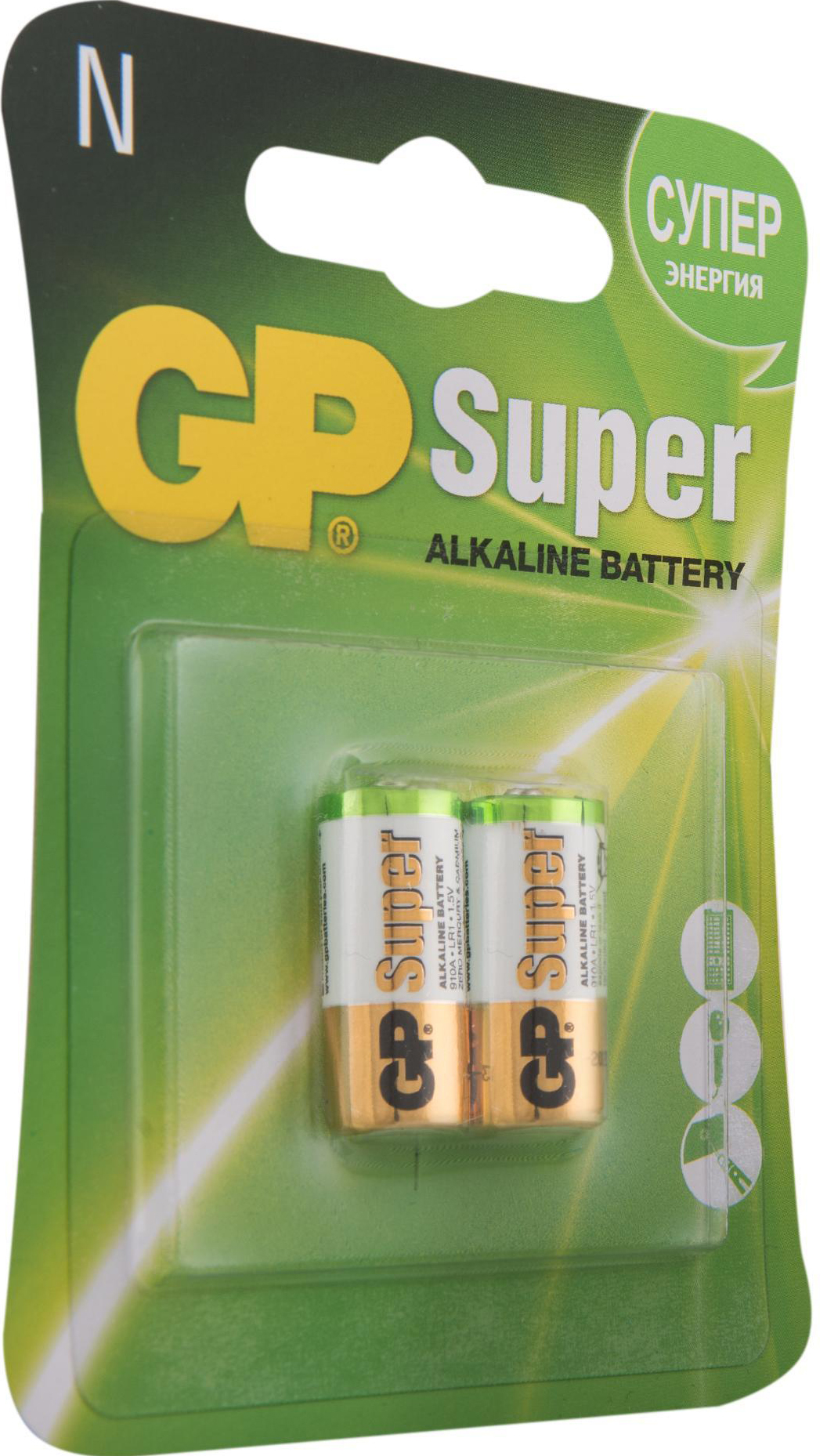 Фото - Алкалиновые батарейки GP Super Alkaline 910A типоразмера N (Блистер, 2 шт) алкалиновые батарейки gp ultra alkaline 13а типоразмера d блистер 2 шт