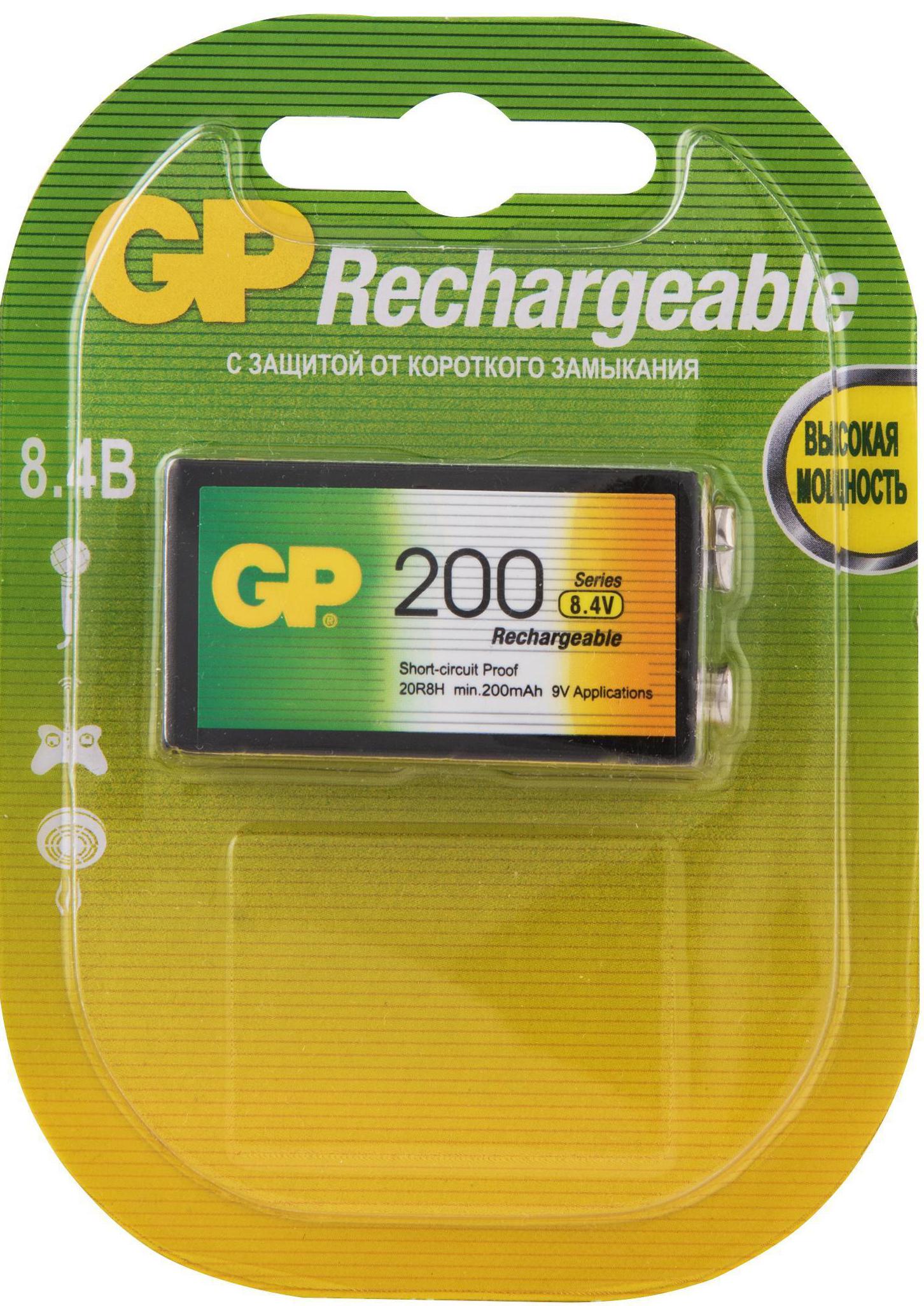Перезаряжаемые аккумуляторы GP 20R8H 9V Крона, ескость 200 мАч (Блистер, 1 шт)