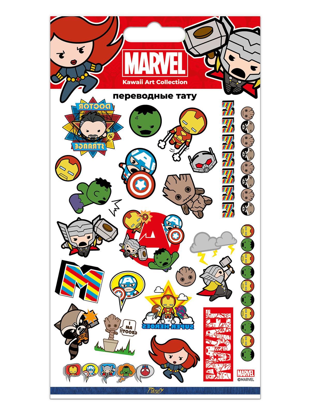 Набор татуировок переводных Мстители Каваи / The Avengers Kawaii 1