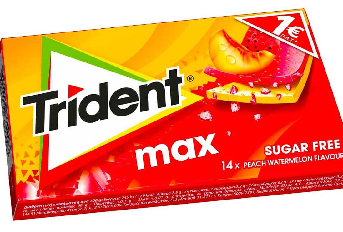 Жевательная резинка Trident Max Вкус персик и арбуз