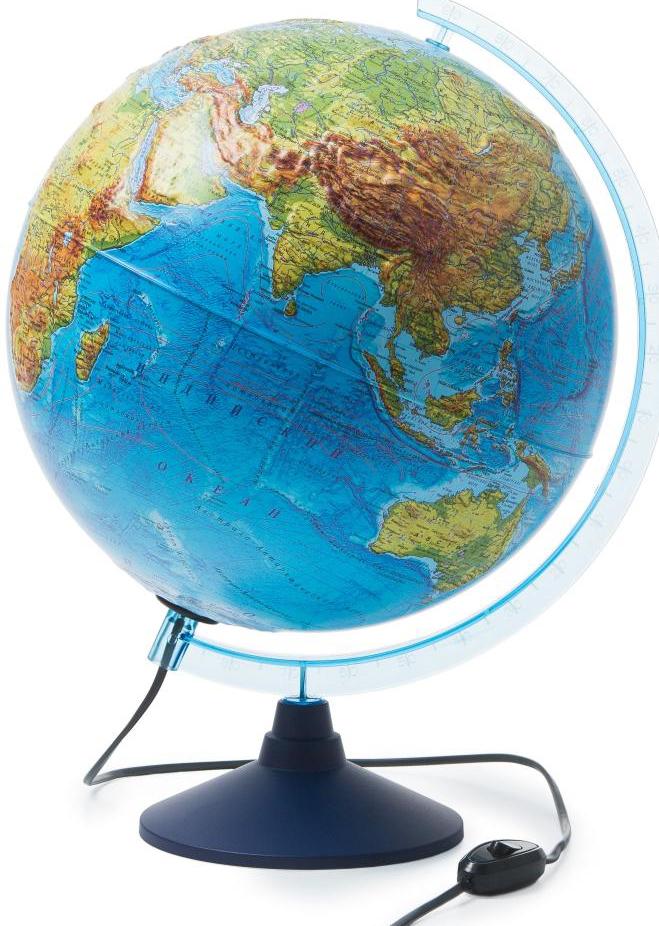 Глобус интерактивный физико-политический рельефный с подсветкой + очки (320 мм)