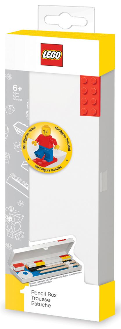 Пенал LEGO (красный кубик) + минифигурка LEGO: Classic