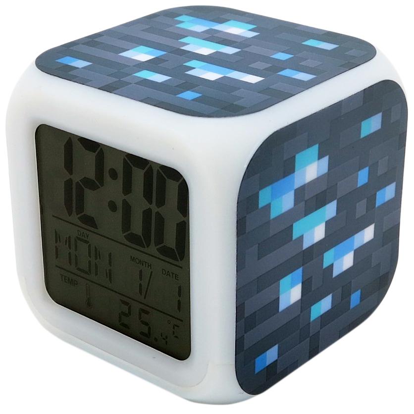 Часы-будильник Minecraft: Блок алмазной руды (пиксельные с подсветкой)