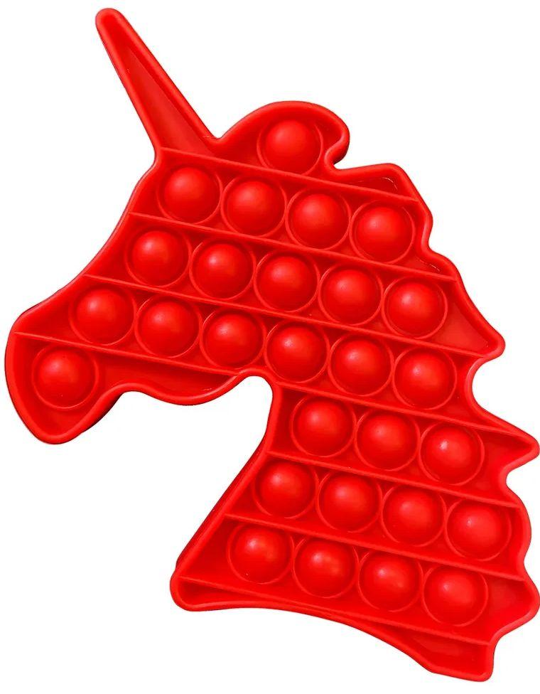 Игрушка пупырка-антистресс Pop it – Единорог красный 3