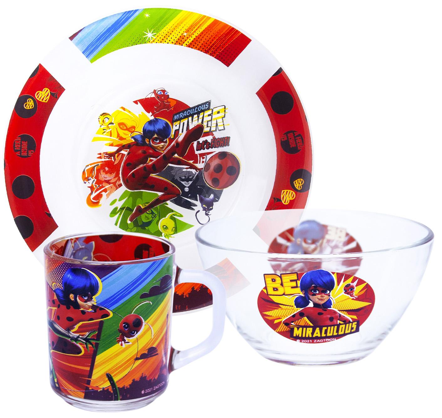 Набор посуды Леди Баг и Супер Кот: Комиксы (стекло) недорого