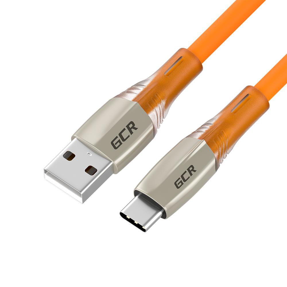 Кабель GCR QC TypeC LED быстрая зарядка 0.5 м (оранжевый TPE) (GCR-52520)