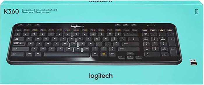 Клавиатура Logitech Wireless K360 беспроводная компактная для PC (черный) (920-003095)