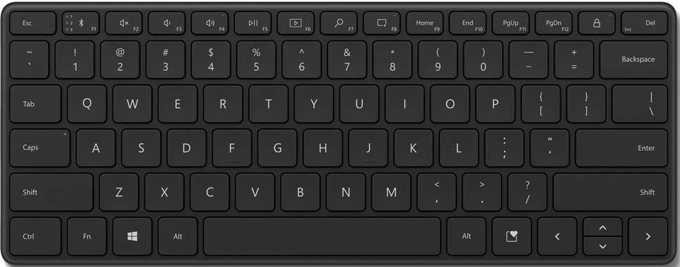 Клавиатура Microsoft Compact Keyboard Bluetooth беспроводная компактная для PC (черный)(21Y-00011)