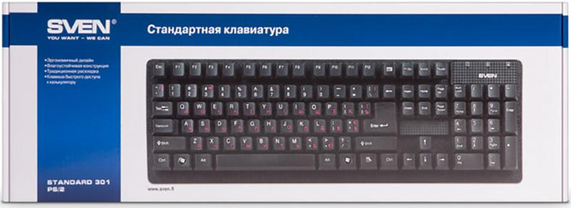 Клавиатура SVEN Standard 301 проводная для PC (черный)(SV-03100301UB)