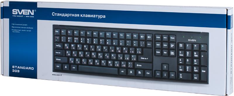 Клавиатура SVEN Standard 303 проводная для PC (черный)(SV-03100303UB)