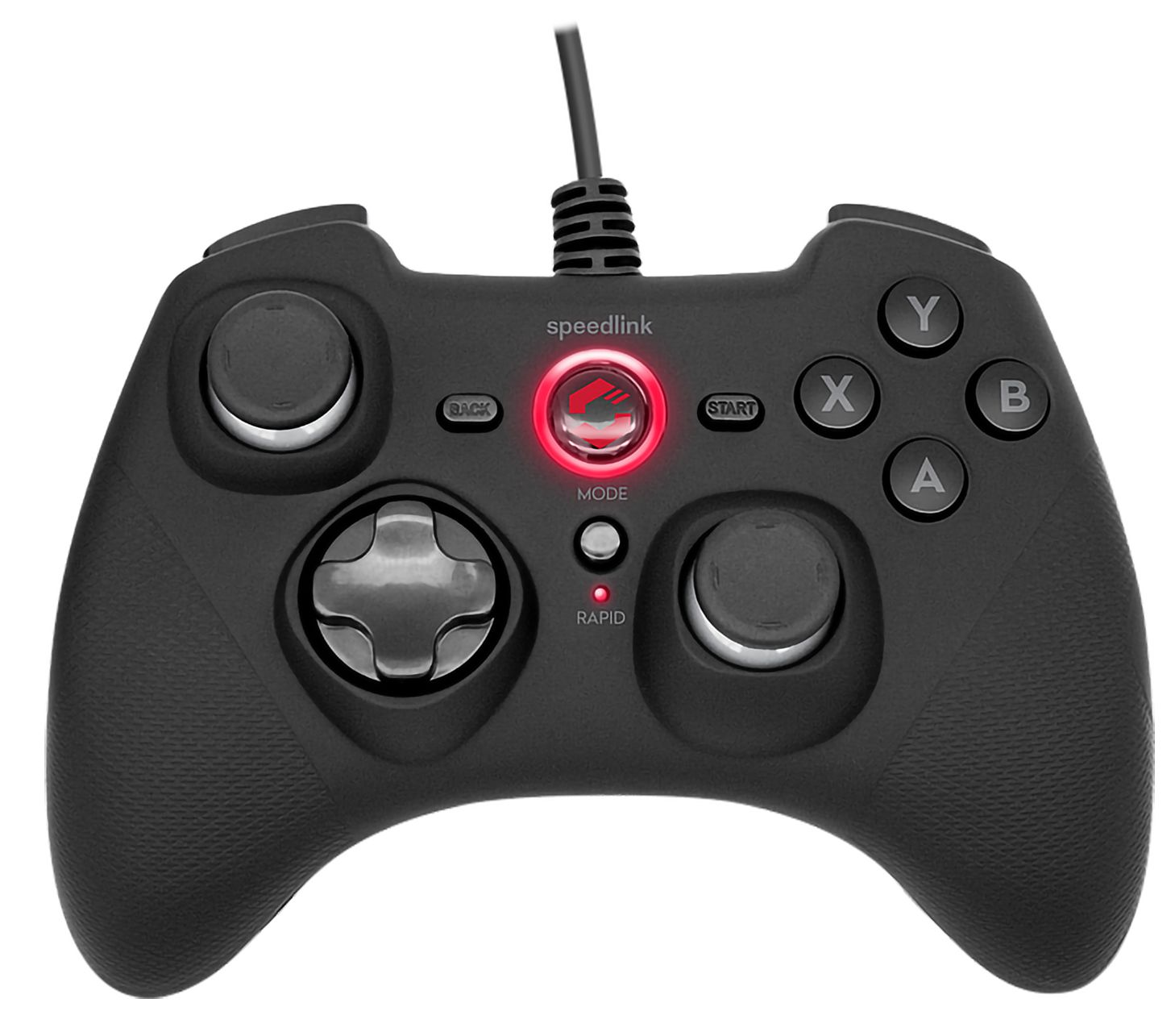 Геймпад Speedlink RAIT Gamepad проводной игровой Black Rubber для PC (SL-650010-BK) геймпад speedlink strike nx gamepad wireless беспроводной для pc sl 650100 bk 01