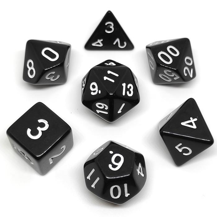 Набор кубиков Симпл для RPG (чёрно-белый) (7 шт.)