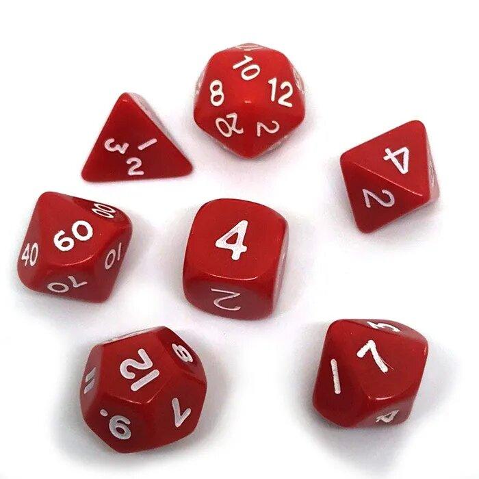 Набор кубиков Симпл для RPG (красно-белый) (7 шт.)