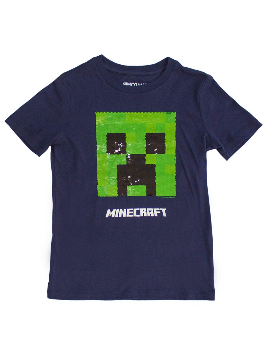 Футболка Minecraft с пайетками (синяя)