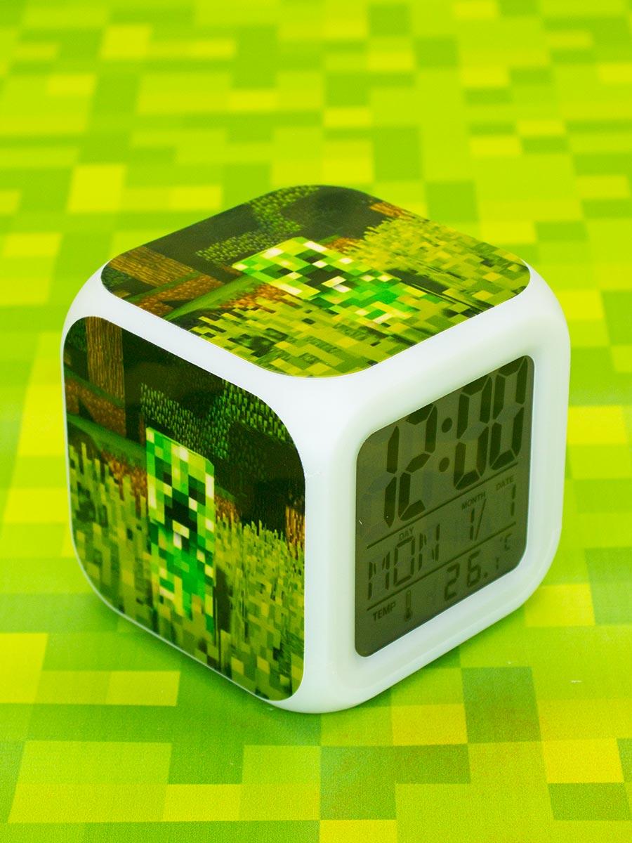 Пиксельные часы-будильник Minecraft – Крипер с подсветкой №2