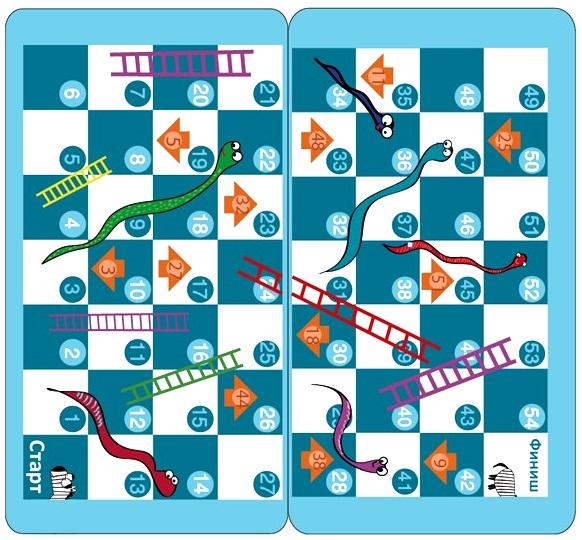 Настольная игра для путешествий. Змеи и Лестницы от 1С Интерес