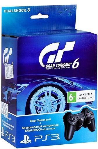 Комплект Gran Turismo 6 [PS3] + Контроллер беспроводной Dualshock 3 (черный) от 1С Интерес