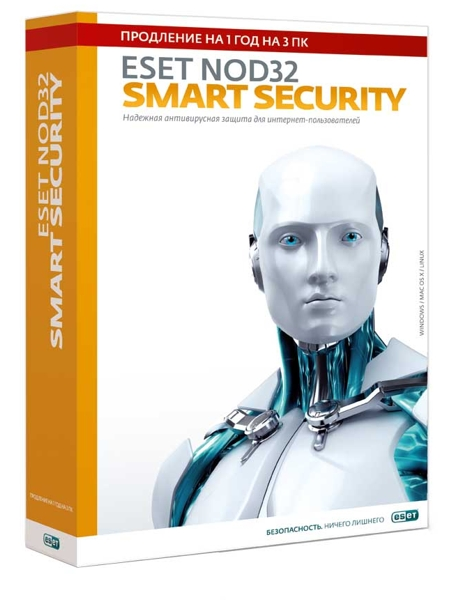 ESET NOD32 Smart Security. Продление (3 ПК, 1 год) от 1С Интерес