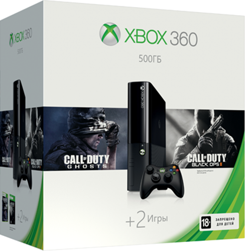 Комплект Xbox 360 (500 GB) + игра Call of Duty: Ghosts + игра Call of Duty: Black Ops 2 от 1С Интерес