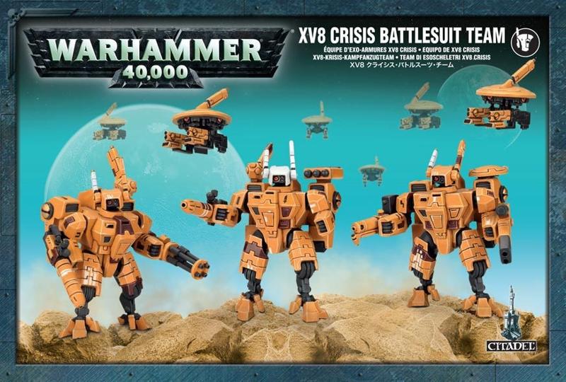 Набор миниатюр Warhammer 40,000. XV8 Crisis Battlesuit TeamПредставляем набор миниатюр Warhammer 40,000. XV8 Crisis Battlesuit Team. Отряды боевых костюмов XV8 &amp;laquo;Кризис&amp;raquo; сочетают в себе превосходную огневую мощь.<br>