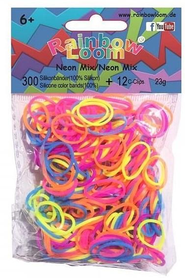 Резиночки для плетения браслетов Rainbow Loom. Неоновый миксРезиночки для плетения браслетов Rainbow Loom. Неоновый микс – набор миниатюрных резиночек Неоновый микс ярких оттенков от Rainbow Loom привлечет девочку и поможет создать необычные украшения для себя и подруг.<br>