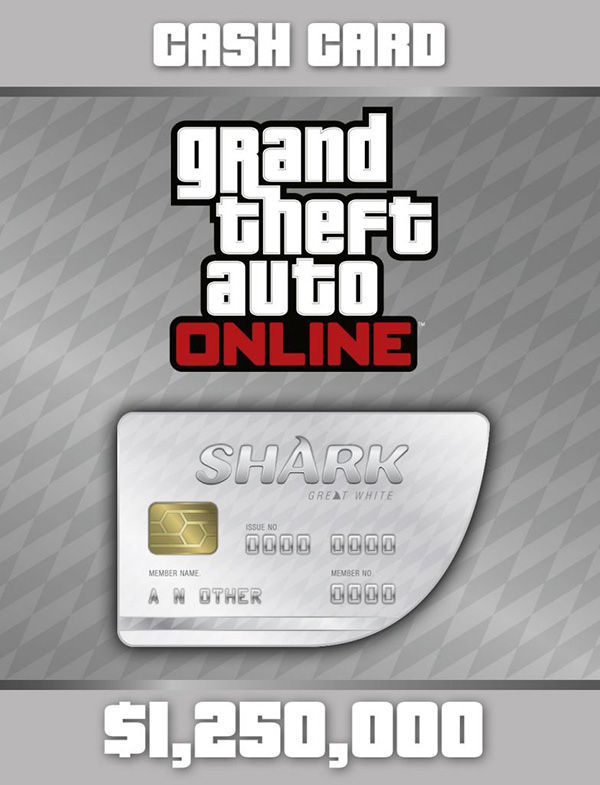 Grand Theft Auto Online: Great White Shark Cash Card  (Цифровая версия)Grand Theft Auto Online: Great White Shark Cash Card &amp;ndash; платежная карта, позволяющая получить 1 250 000 долларов GTA для GTA Online.<br>