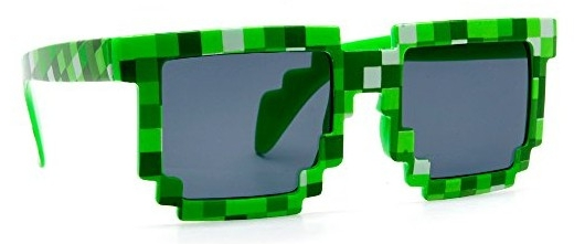 Пиксельные очки в стиле «Minecraft» (зеленые)