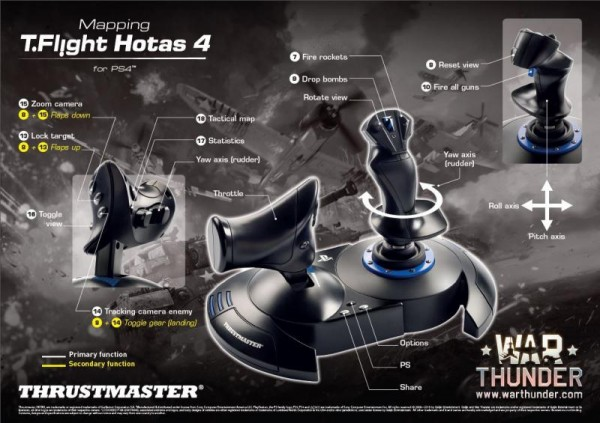 Джойстик Thrustmaster T-Flight Hotas 4 для PS4 и PC + код War Thunder Starter Pack