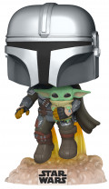 Фигурка Funko POP: Star Wars The Mandalorian – The Mandalorian With The Child Flying With Jet Bobble-Head (9,5 см)
